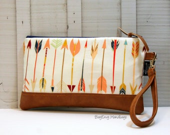 READY To SHIP - Wild and Free Arrows with Vegan Leather - Zippered Wristlet Clutch /  Bridesmaid Gift- Accessory Make Up Bag -