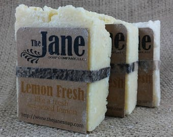 Lemon Fresh Sea Salt Soap - Like a Fresh Squeezed Lemon - Rustic Hot Process Soap