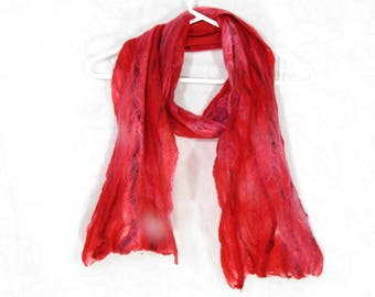 Cobweb Felted Scarf, Handmade Wool Winter Scarf, Bright Red, Long Womens Scarf, Winter Fashion Accessory, OOAK, Gift for Her