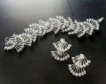 Vintage Rhinestone Silver Bracelet, Earrings Demi Parure Set, Bridal Jewelry Set, 1940s 1950s Wedding Bracelet, Bridal Jewelry, True Vintage