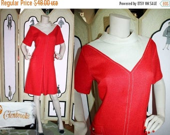 Summer Sale 20% Off 1960's Red and White Color Block MOD Scooter Dress by GlenBrooke.