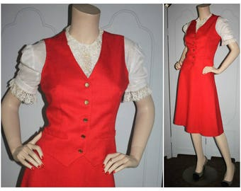 Vintage Early 70's Red Vest and Skirt Suit. Super Cute and Preppy. Small.