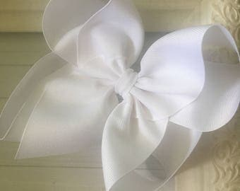 """Classic White Extra Large Boutique Hair Bow 2.25"""" Ribbon ~ m2m Matching Matilda Jane The Adventure Begins BIG"""