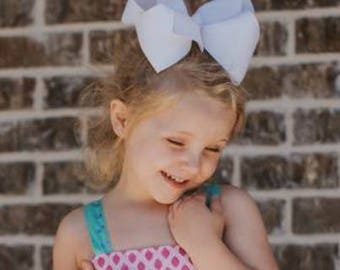 """1 Texas Size Super Large Hair Bow  3"""" Ribbon ~ 6"""" Bow Cheer Bow ~ Choose Color ~ m2m Matching Matilda Jane The Adventure Begins BIG"""