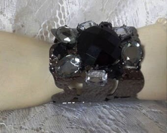 Vintage Silver Cuff Bracelet with Black and Clear Stones