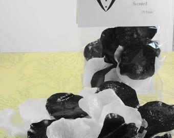 Soap  - Black Tie Petal Soaps -Individual Rose Petal Soaps - Glycerin Soaps - Wedding Favor - Guest Soap - Black and White Soap Petals