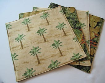 Palm Tree Square Placemats Reversible Set of 2, 4 or 6 Tropical Square Placemats Hawaiian Placemats Beach House Palm Tree Decor Green Tan