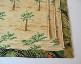 Palm Tree Placemats Reversible Set of 4 or 6 Green Tropical Placemats Hawaiian Placemats Beach House Palm Tree Decor Tan Summer Placemats