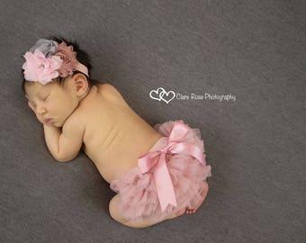 VINTAGE PINK BLOOMER set- Baby Headband and Chiffon Ruffle Diaper Cover, baby bloomer, Baby bloomers, newborn bloomer,mauve, pink and Grey,