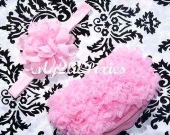 SALE Pink Baby Bloomer and Headband- Baby Girl headband, Ruffle Bum Baby Bloomer, Diaper Cover, Ruffle Bloomer, Chiffon Baby Bloomers, Bloom