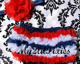SALE Patriotic Ruffle Bum Baby Bloomer, Red White Navy Blue Baby Girl Set-Ruffle Satin Bloomer and Flower headband- 4th of July-MY2Lilpixies
