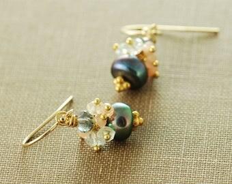June Birthstone Peacock Pearl Gemstone Cluster Earrings, Pearl Drop Earrings with Peach Moonstone and Aquamarine