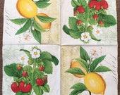 PN-220. Lemon Paper Napkins for Decoupage Fruit Strawberry Napkins for Art Luxury Napkins Design Wedding Birthday DECOUPAGE SERVIETTE