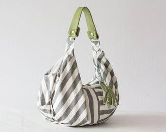 Small hobo bag, stripe purse grey and white bag handbag cotton purse everyday purse slouchy purse-Mini Kallia bag