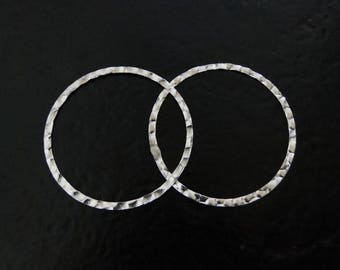 ONE Sterling Silver 30mm Hammered Flat Round Link, Connector Ring