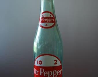 vintage sprinkler bottle - laundry mister - Dr Pepper bottle with aluminum sprinkler - 1960's - vintage ironing board accessory