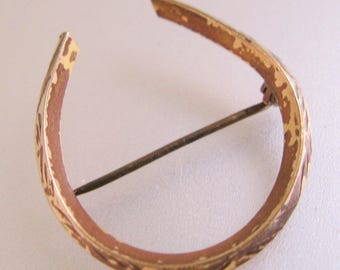 Victorian Antique Horse Shoe Lucky Brooch Pin Gold Filled Horseshoe