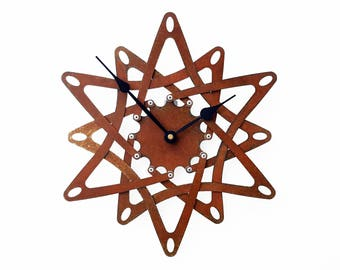 Pinwheel II, Medium, Rustic Wall Clock, Unique Wall Clock, Modern Wall Clock, Steampunk Home Decor, Industrial Metal Art, Airplane Propeller