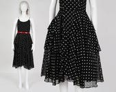 70s does 50s Polka Dot Sundress | size S M | Black White Sheer Cotton Tiered Full Circle Skirt Spaghetti Strap Dress | Small Medium 6 8