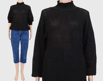 Vintage 80s 90s Black Minimalist Sweater | Chunky Knit Sweater | Mock Turtleneck Sweater | Slouchy Cotton Ramie Sheer Sweater | Medium M