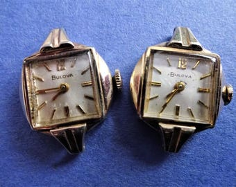 Old Vintage Twin Pair Same Alike Ladies Bulova Watches For Making Watch Earrings Steampunk Projects Jewelry Making