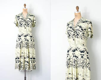 vintage 1940s dress / cold rayon 40s dress / celadon and black abstract print (medium m)