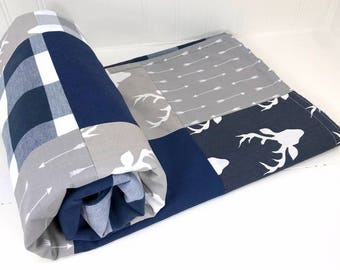 Baby Blanket Nursery Decor Minky Baby Blanket Baby Bedding Baby Quilt Baby Boy Buffalo Plaid Navy Blue Grey Gray Deer Buck Buffalo Checks