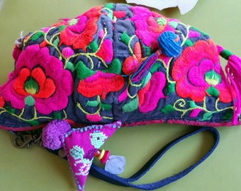 Vintage Hand Embroidered Hmong Hill Tribe Baby Hat Clutch Purse.