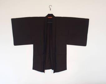 Japanese Haori Kimono Cardigan For Men Blackish Brownish Color International Shipping