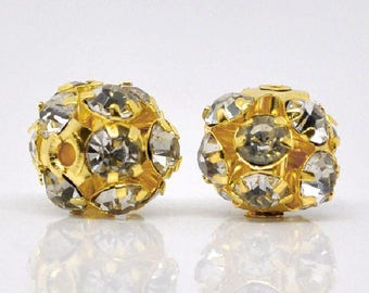 Gold Filigree Clear Rhinestone Balls (8mm) - Metal Beads