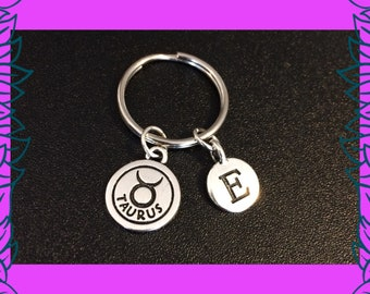 Taurus April May birthday gift idea, Taurus astrology zodiac birthday gift for her, custom letter E charm, personalised keyring keychain