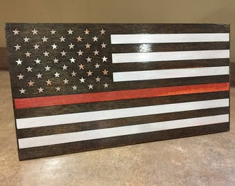 Thin Red Line Wooden Flag