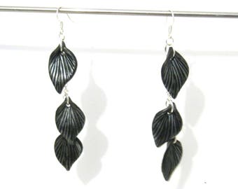 Black Leaf Dangle Earrings - Silver Plated - 3.5 inch long - black and silver - botanical nature inspired