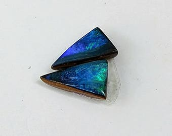 Triangle Australian Boulder Opal, Boulder opal, Opal pair, Boulder Opal Pair, Blue Green Boulder Opal