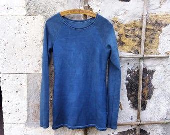 Organic ethical clothing blue sweater eco chic jumper women hemp bamboo fleece minimal pullover hippy sustainable boho tops dark fashion