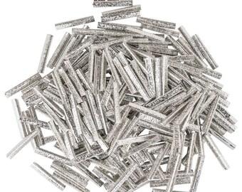 500pcs.  38mm or 1  1/2 inch - Platinum Silver No Loop Ribbon Clamp End Crimps - Artisan Series