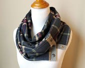 Charcoal Grey Plaid Long Scarf with Leather and Snaps