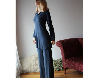 bamboo pajama set including long sleeve tunic and lounge pants - NOUVEAU bamboo sleepwear range - made to order