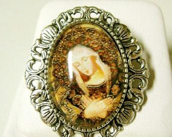 Virigin Mary convertible brooch/pendant and chain - AP35-081