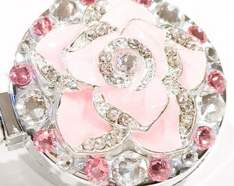 Pink Rose Metal Flower Swarovski Crystal Embellished Chrome Retractable Nametag Holder ID Badge Reel
