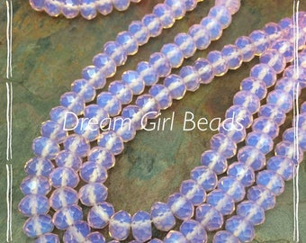 Pink Opalescent Chalcedony Gemstone 8mm Faceted Rondelle Beads, 7.5 inch strand