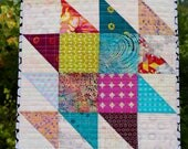 MarveLes QUILTED PLACEMAT TOPPER  Batik Fabrics Table  Blue Turquoise Orange Pink
