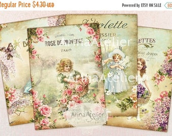 SALE - 30%OFF - Shabby Spring ATC Cards - Collage Aceo cards - Digital Collage Tags - Digital Download Sheet - Shabby chic cards - Victorian
