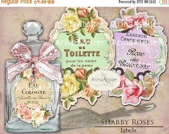 SALE - 30%OFF - LABELS Shabby Roses Parfume  - Apothecary Labels - Vintage Tag Parfume - Collage Digital Labels - Collage french Labels - Pr