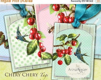 SALE - 30%OFF - Chery Chery Tags - Collage Digital Sheet - Download Collage Tags - Fruits Collage Sheet  - Set of 6 Hang Tags