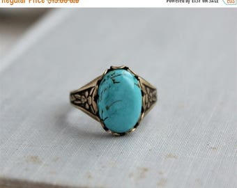 VACATION SALE- Turquoise Ring. Antique Silver or Antique Brass