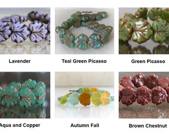 Maple Leaf Czech Glass Beads, 10 Pcs Ur Pick Autumn Fall Lavender Picasso Teal Chestnut Copper