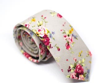 Gray & Rose Floral Skinny Tie - Mens Wedding Ties