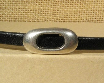 25% Off Oval Frame Sliders for 5mm Flat Leather - Antique Silver - SP143 - Choose Your Quantity