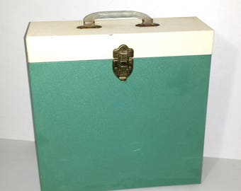 Mid Century Metal Box for Albums / 1960s LP Metal Storage Case with Handle